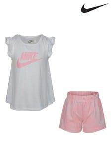 Nike Little Kids White Vest and Pink Tie Dye Shorts Set