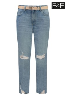 F&F Mid Wash Belted Mom Jeans