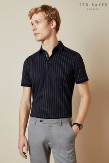 Ted Baker Blue Airflow Striped Polo Top
