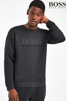 BOSS Black Quilted Crew Neck Sweat