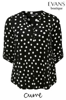 Evans Curve Black Polka Dot 3/4 Sleeve Shirt