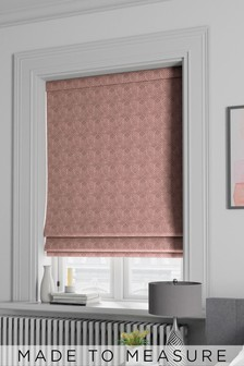 Made To Measure Pink Velvet Metallic Geo Roman Blind