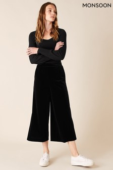Monsoon Black Velvet Cropped Trousers