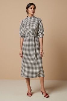Dogtooth Print Dress