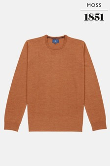 Moss 1851 Orange Merino Crew Neck Jumper