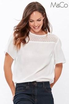 M&Co Cream Dobby Yoke T-Shirt