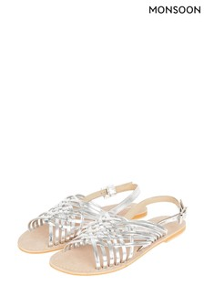 Monsoon Silver Metallic Weave Leather Sandals