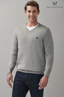 Crew Clothing Company Grey Cotton Silk-Neck Jumper