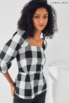 Next/Mix Gingham Square Neck Top