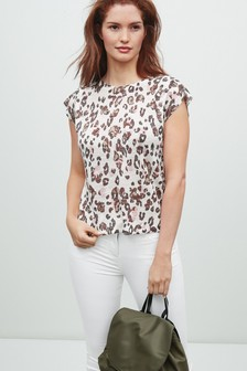 Shoulder Pintuck Detail Linen T-Shirt