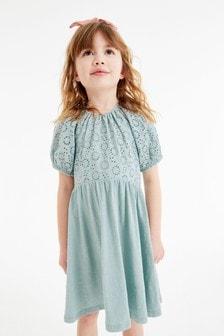 Jersey Brodiere Puff Sleeve Dress (3-16yrs)