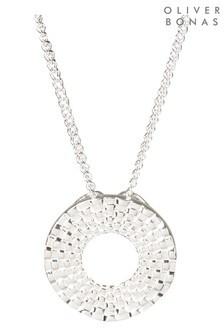 Oliver Bonas Silver Spiral Detail Loop Pendant Necklace