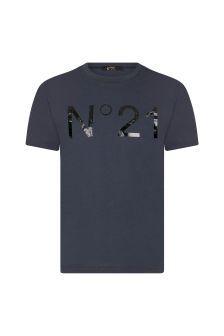 N°21 Boys Blue Cotton T-Shirt