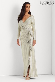 Lauren Ralph Lauren® Gold Metallic Stretch Emma Maxi Evening Dress