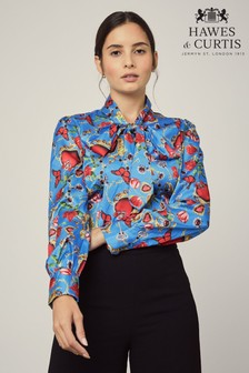 Hawes & Curtis Blue Hearts & Roses Fitted Satin Shirt