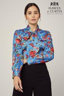 חולצת סאטן בגזרה הדוקה של Hawes & Curtis דגם Hearts & Roses בכחול