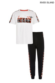 River Island White Living The Dream Belt Joggers And T-Shirt Set
