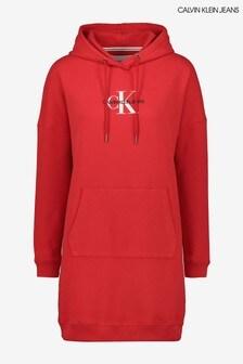Calvin Klein Jeans Red Monogram Hoodie Dress