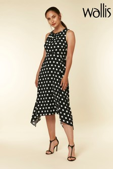 Wallis Black Spot Hanky Hem Dress
