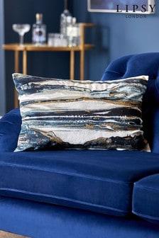 Lipsy Navy Metallic Marble Cushion