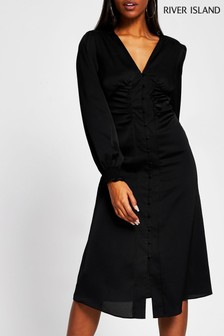 River Island Black Shoulder Pad Midi Dress