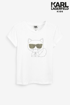 Karl Lagerfeld Kids White Cat T-Shirt