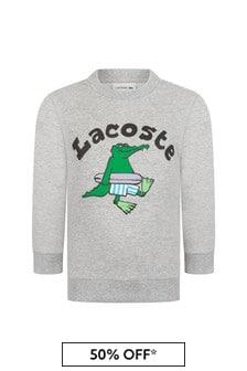 Lacoste Kids Boys Grey Cotton Sweater