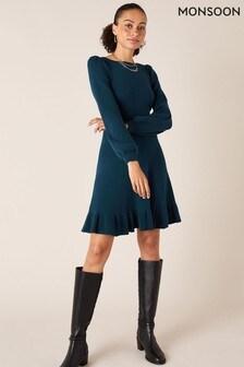 Monsoon Blue Peplum Hem Knitted Dress