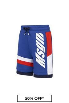 MSGM Boys Blue Cotton Shorts
