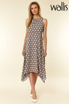 Wallis Nude Spot Hanky Hem Dress