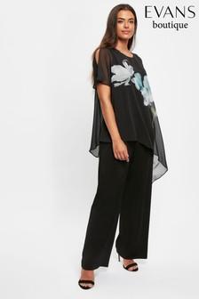 Evans Curve Black Floral Print Jumpsuit