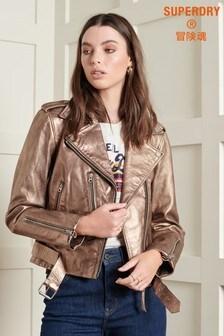 Superdry Vintage Belted Leather Biker Jacket