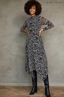 Mint Velvet Roselea Print Mesh Midi Dress