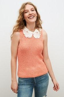 Short Sleeve Broderie Collar Layer Top