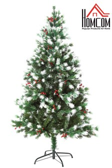 Snowy Artificial Christmas Tree 5ft with Faux Berries By HOMCOM