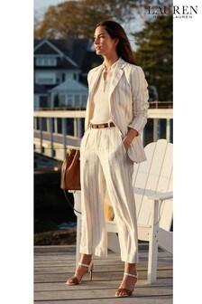 Lauren Ralph Lauren Cream Stripe Linen Mix Wide Leg Haley Trousers