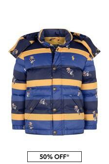 Ralph Lauren Kids Boys Blue Striped Bear Jacket