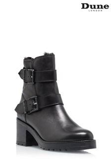 Dune London Portrait Black Buckled Zip Up Boots