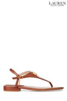 Ralph Lauren Leather Monogram Logo Ellington Flat Sandals