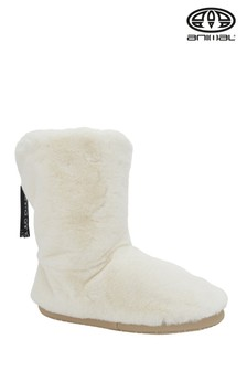 Animal Bollo Hausschuhe in Stiefelform, creme