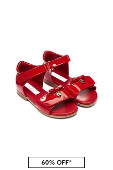 Dolce & Gabbana Kids Baby Girls Red Leather Sandals