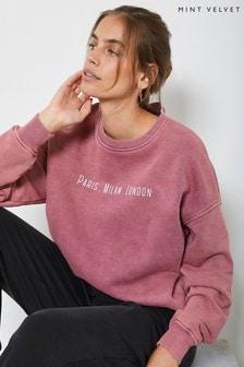Mint Velvet Pink Overdye Slogan Sweatshirt