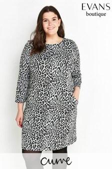 Evans Curve Grey Animal Print Jacquard Tunic