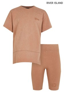 River Island Beige One T-Shirt And Cycle Shorts Set