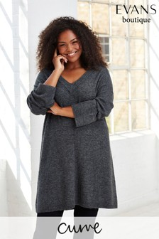 Evans Curve Grey V-Neck Tunic Top