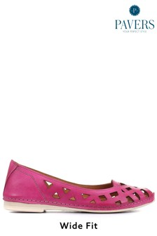 Pavers Fuchsia Ladies Cut Out Leather Ballerina Pumps