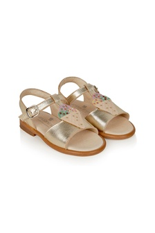 Andanines Girls Gold Leather Sandals