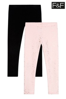 F&F Pink Brushed Leggings Two Pack