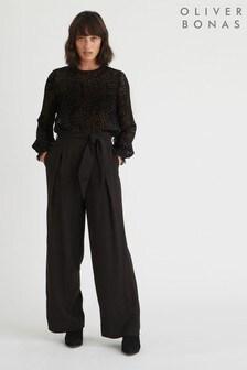 Oliver Bonas Black Tie Waist Wide Leg Trousers