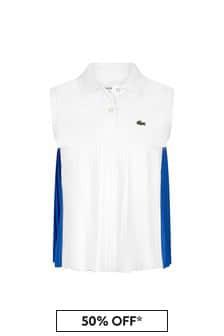 Lacoste Kids Girls White Cotton Sleeveless Polo Top